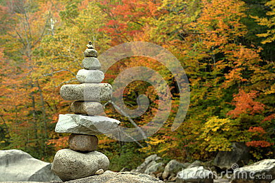 Zen Balance Stone Tower on Autumn Background