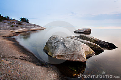 Stones in calm sea
