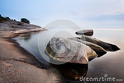 Stones in calm sea