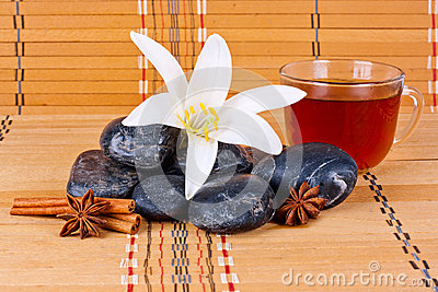 Stones with flowers and anise
