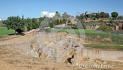 Stones remains of a Roman mausoleum