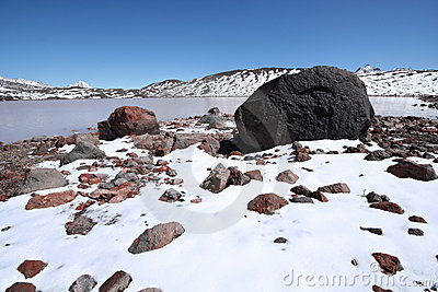 Stones, rocks, snow and mountain lake, Caucasus.