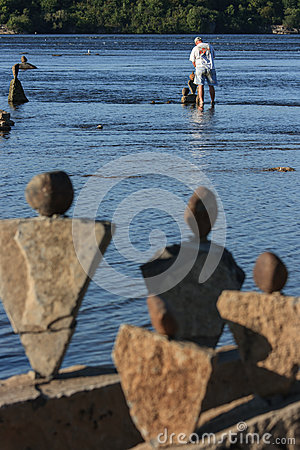 Stones Watching Stone Balancer Editorial Stock Photo