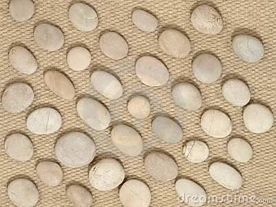 Stones on a wool fabric.