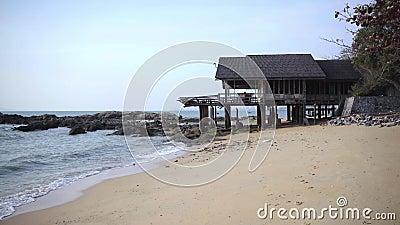 Stony seashore with a beautiful abandoned house, Thailand, Pattaya.  stock footage