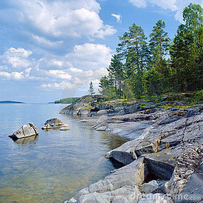 Free Stony Shore Of Ladoga Lake Stock Photo - 24232950