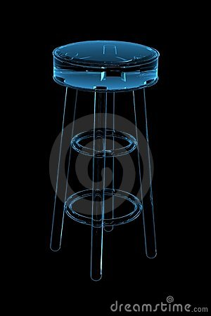 Stool 3D rendered xray blue