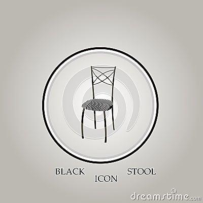 Stool Black Vector Illustration