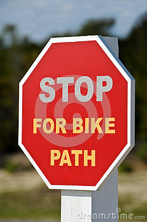 Stop For Bike Path