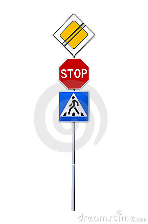 Stop, crosswalk,thoroughfare traffic signs