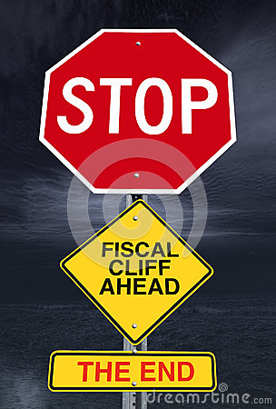 Stop fiscal cliff ahead road sign