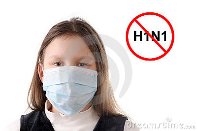 Stop the flu. Girl in protective mask