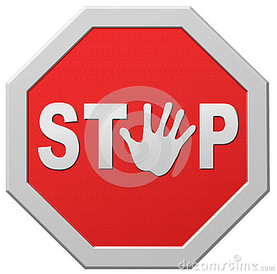 Stop halt red warning road sign stopping