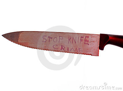 Stop knife crime concept on white background