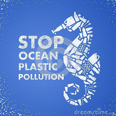 Stop ocean plastic pollution. Ecological poster Sea-horse composed of white plastic waste bag, bottle on blue background. Plastic Vector Illustration
