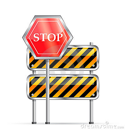 Stop road sign and striped barrier