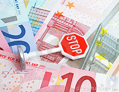 Stop sign and Euro currency