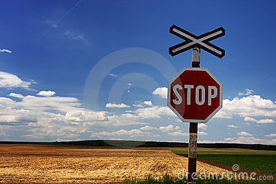 Stop Sign on railway