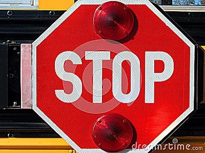 Stop sign on school bus Stock Photo