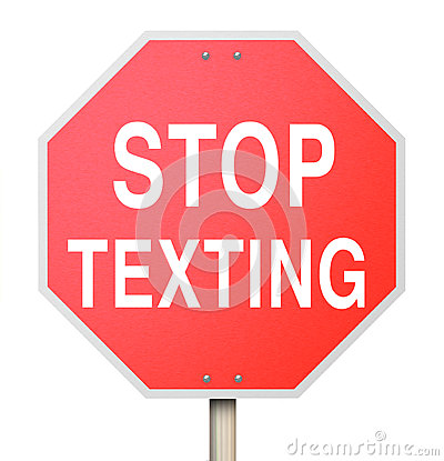 Stop Texting Red Road Sign Warning Danger Text Driving