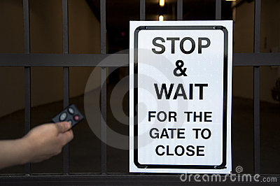 Stop And Wait Sign Before Gate Stock Photos Image 17669993
