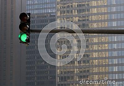Stoplight Against Building