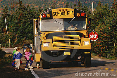 Stopped School Bus Editorial Photography