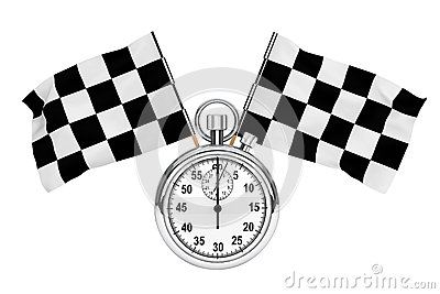 Stopwatch with checkered flags
