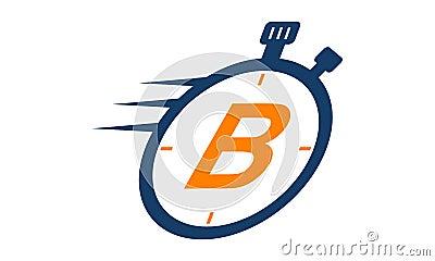 Stopwatch Logo Letter B Vector Illustration