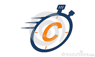 Stopwatch Logo Letter C Vector Illustration