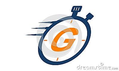 Stopwatch Logo Letter G Vector Illustration