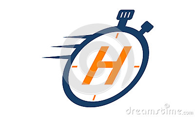 Stopwatch Logo Letter H Vector Illustration