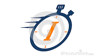 Stopwatch Logo Letter I Vector Illustration
