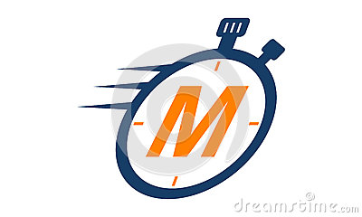 Stopwatch Logo Letter M Vector Illustration
