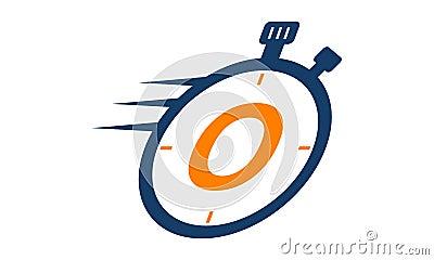 Stopwatch Logo Letter O Vector Illustration