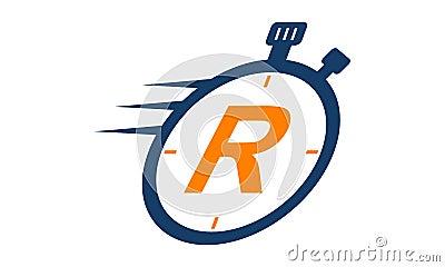 Stopwatch Logo Letter R Vector Illustration