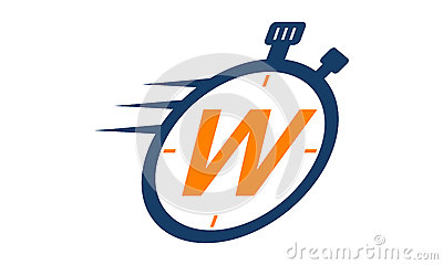 Stopwatch Logo Letter W Vector Illustration