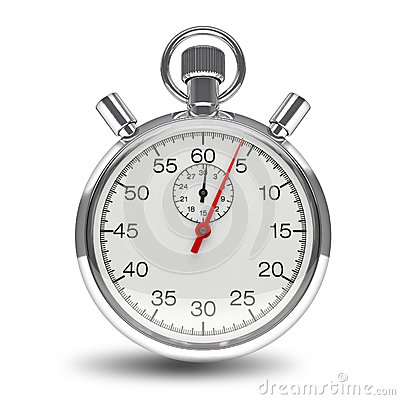 Stopwatch mechanical clock timer chrome isolated Stock Photo