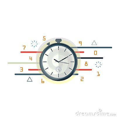 Free Stopwatch Time Motion,time Management Flat Vector Royalty Free Stock Images - 129993109