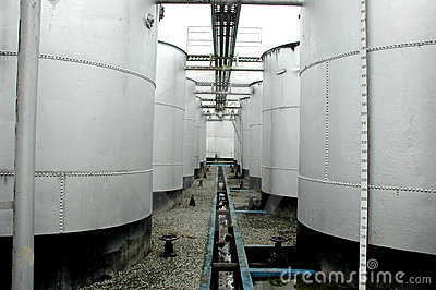 Storage tanks of crude oil