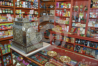 Store interior wirh vintage cash register Editorial Stock Image