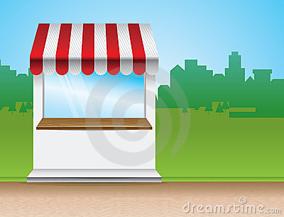 Store with striped awning