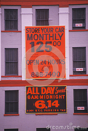 Store your car monthly $125 sign Editorial Photography