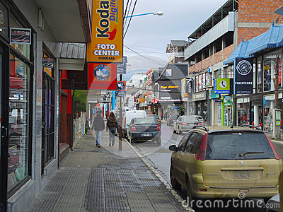 Stores in the main street of Ushuaia Editorial Stock Image