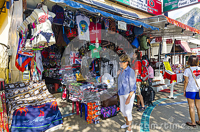 Stores and shops of beachwear of the Thai Editorial Image