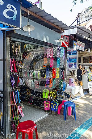 Stores and shops of beachwear of the Thai Editorial Photo