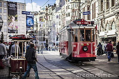 Storic tram in istanbul Editorial Stock Image