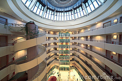 Stories and round dome in Iris Congress hotel Editorial Stock Photo