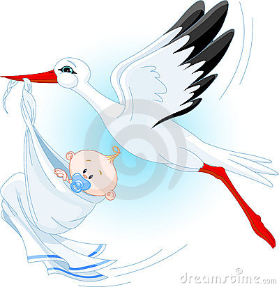 Free Stork And Baby Royalty Free Stock Photos - 9810938