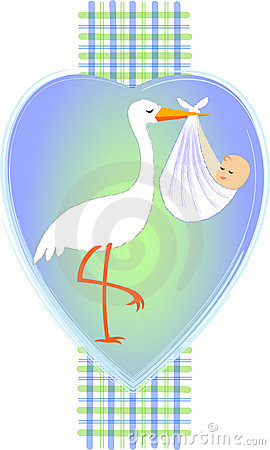 Stork with Baby Boy/eps